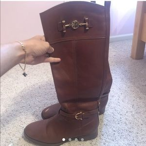 Tory Burch Nadine brown leather riding boots
